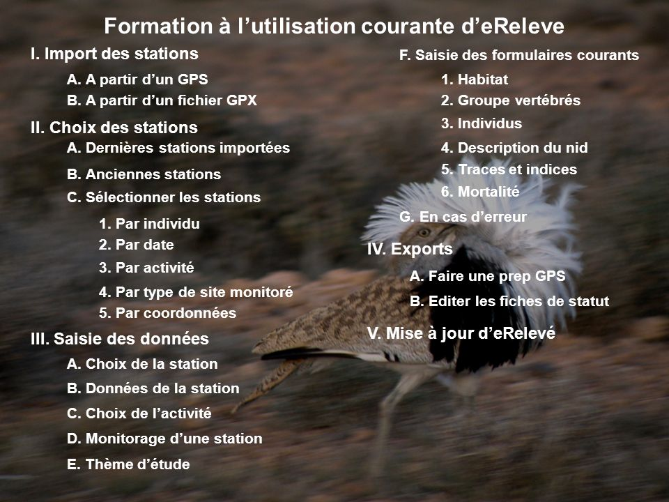 Formation à lutilisation courante deReleve I. Import des stations A.