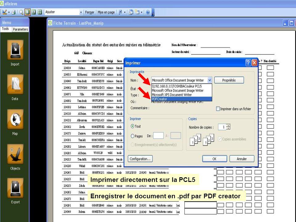 Imprimer directement sur la PCL5 Enregistrer le document en.pdf par PDF creator