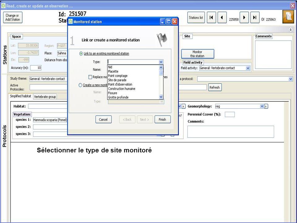 Sélectionner le type de site monitoré