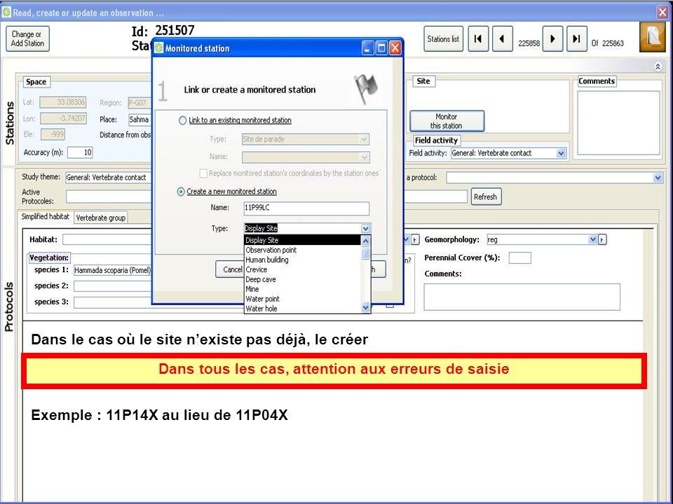 Dans le cas où le site nexiste pas déjà, le créer Dans tous les cas, attention aux erreurs de saisie Exemple : 11P14X au lieu de 11P04X