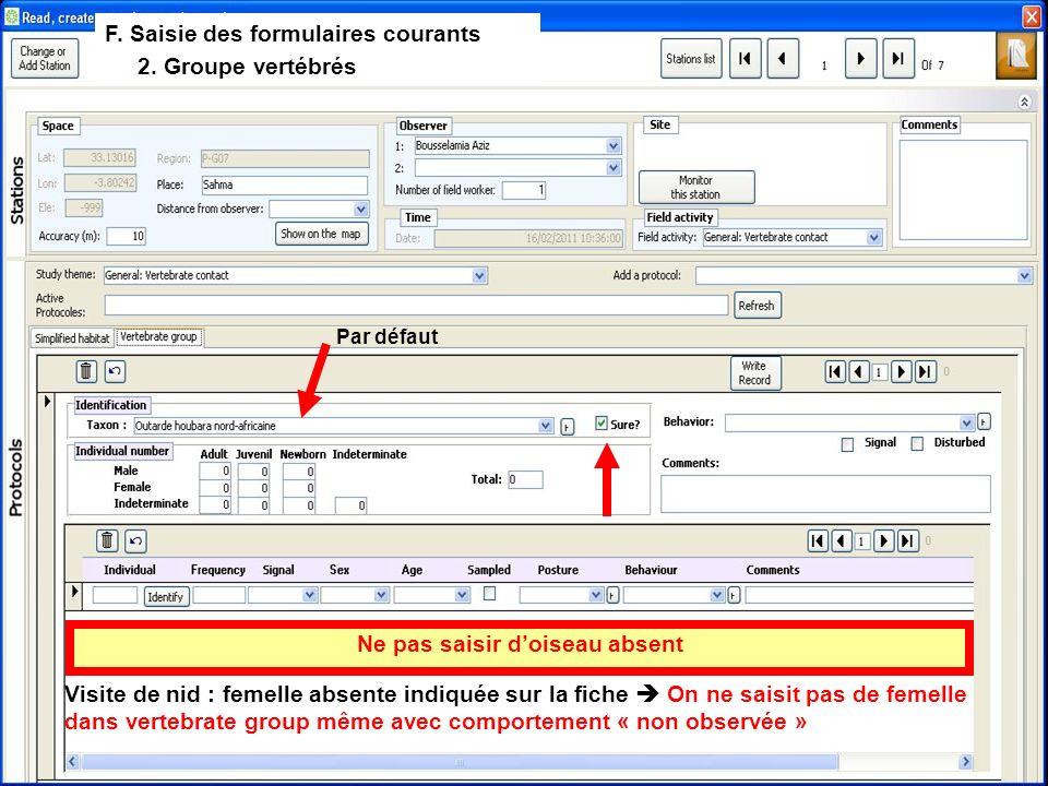 F. Saisie des formulaires courants 2.