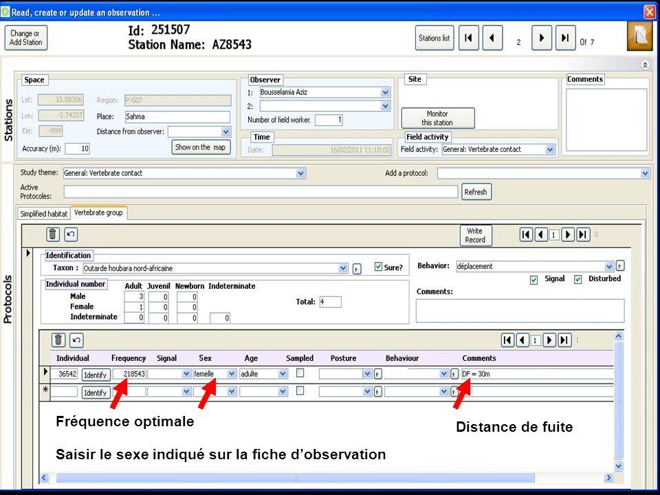 Distance de fuite Saisir le sexe indiqué sur la fiche dobservation Fréquence optimale