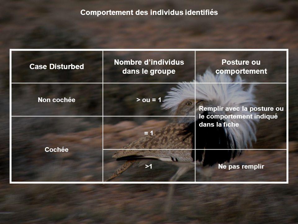 Comportement des individus identifiés Case Disturbed Nombre dindividus dans le groupe Posture ou comportement Non cochée> ou = 1 Remplir avec la posture ou le comportement indiqué dans la fiche Cochée = 1 >1Ne pas remplir