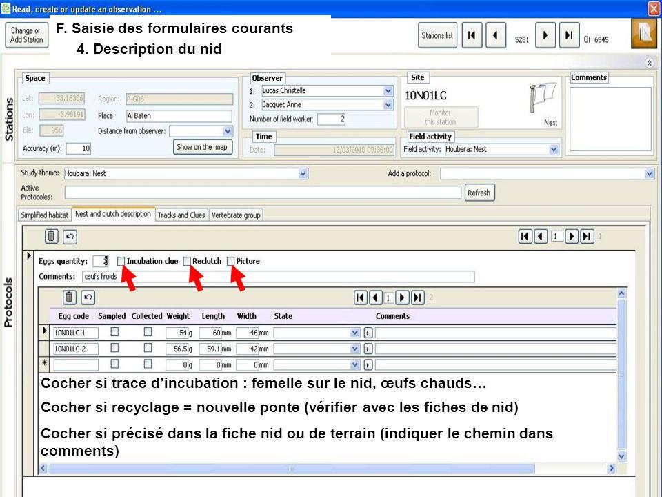 F. Saisie des formulaires courants 4.