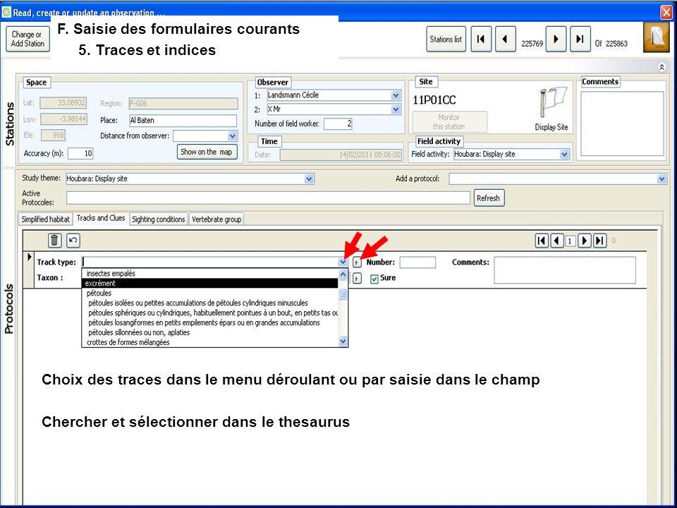 F. Saisie des formulaires courants 5.