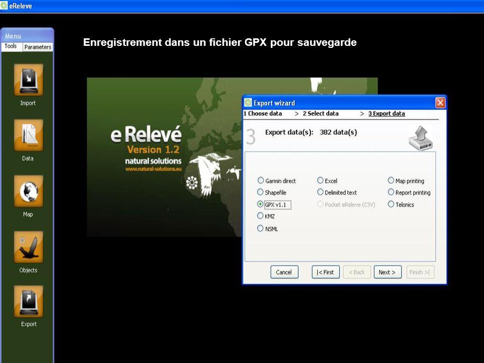 Enregistrement dans un fichier GPX pour sauvegarde