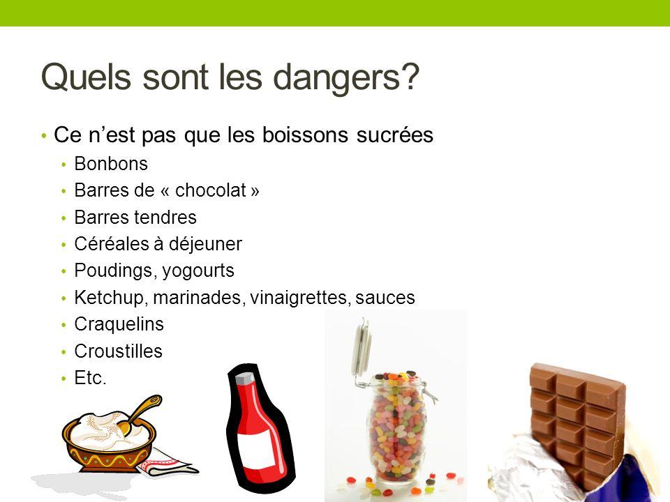 Quels sont les dangers? Ce nest pas que les boissons sucrées Bonbons Barres de « chocolat » Barres tendres Céréales à déjeuner Poudings, yogourts Ketc