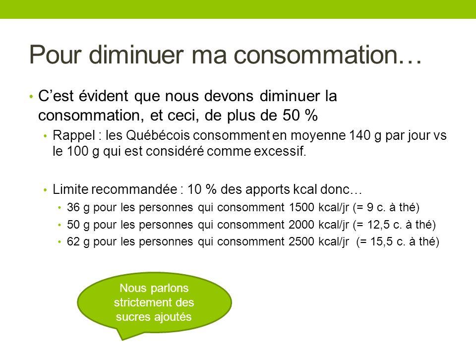 Pour diminuer ma consommation… Cest évident que nous devons diminuer la consommation, et ceci, de plus de 50 % Rappel : les Québécois consomment en mo