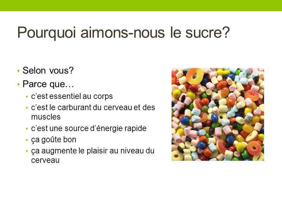 Pourquoi aimons-nous le sucre? Selon vous? Parce que… cest essentiel au corps cest le carburant du cerveau et des muscles cest une source dénergie rap