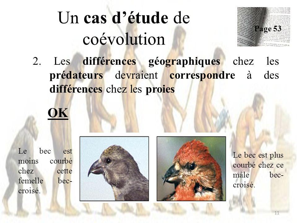 Un cas détude de coévolution 2. Les différences géographiques chez les prédateurs devraient correspondre à des différences chez les proies OK 11 Page