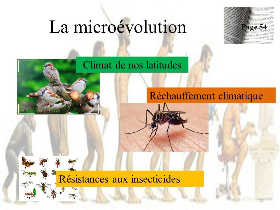 La microévolution Page 54 13 Climat de nos latitudes Réchauffement climatique Résistances aux insecticides