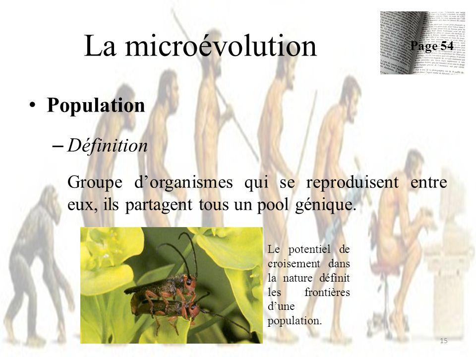Population – Définition Groupe dorganismes qui se reproduisent entre eux, ils partagent tous un pool génique. La microévolution Page 54 15 Le potentie