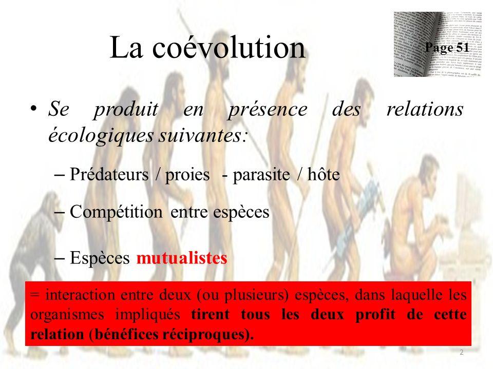 Exemples – Pollinisation: Plantes / insectes = mutualisme (souvent) – Pollinisation: Acacias La coévolution Page 51 3 = épine creuse = pores nectar c fourmis Mutualisme ?