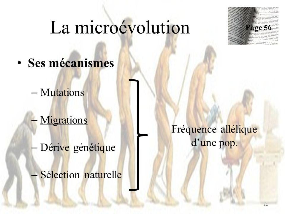 Ses mécanismes – Mutations – Migrations – Dérive génétique – Sélection naturelle La microévolution Page 56 21 Fréquence allélique dune pop.