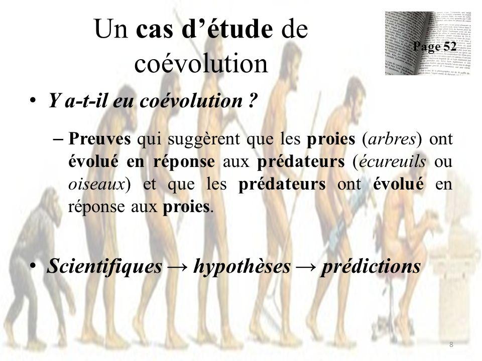 Un cas détude de coévolution Les prédictions: 1.Il devrait y avoir des différences géographiques dans les pommes de pin 2.Les différences géographiques chez les prédateurs devraient correspondre à des différences chez les proies 9 Pages 52 - 53
