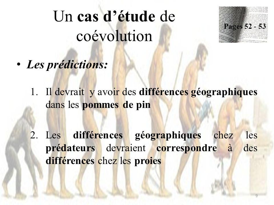 Un cas détude de coévolution Les prédictions: 1.Il devrait y avoir des différences géographiques dans les pommes de pin 2.Les différences géographique