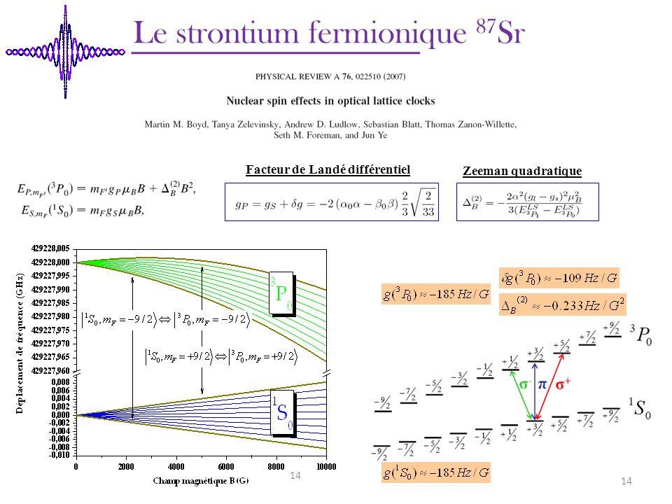 Le strontium fermionique 87 Sr Zeeman quadratique 14 Facteur de Landé différentiel 14