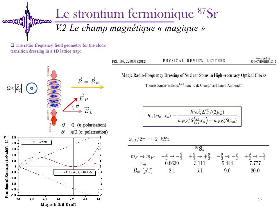 Le strontium fermionique 87 Sr V.2 Le champ magnétique « magique » 17