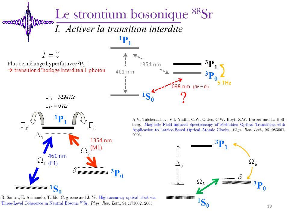 1S01S0 1P1 1P1 3P03P0 3P13P1 3P03P0 1S01S0 Plus de mélange hyperfin avec 3 P 1 ! transition dhorloge interdite à 1 photon 698 nm ( 0 ) 1S01S0 1P1 1P1
