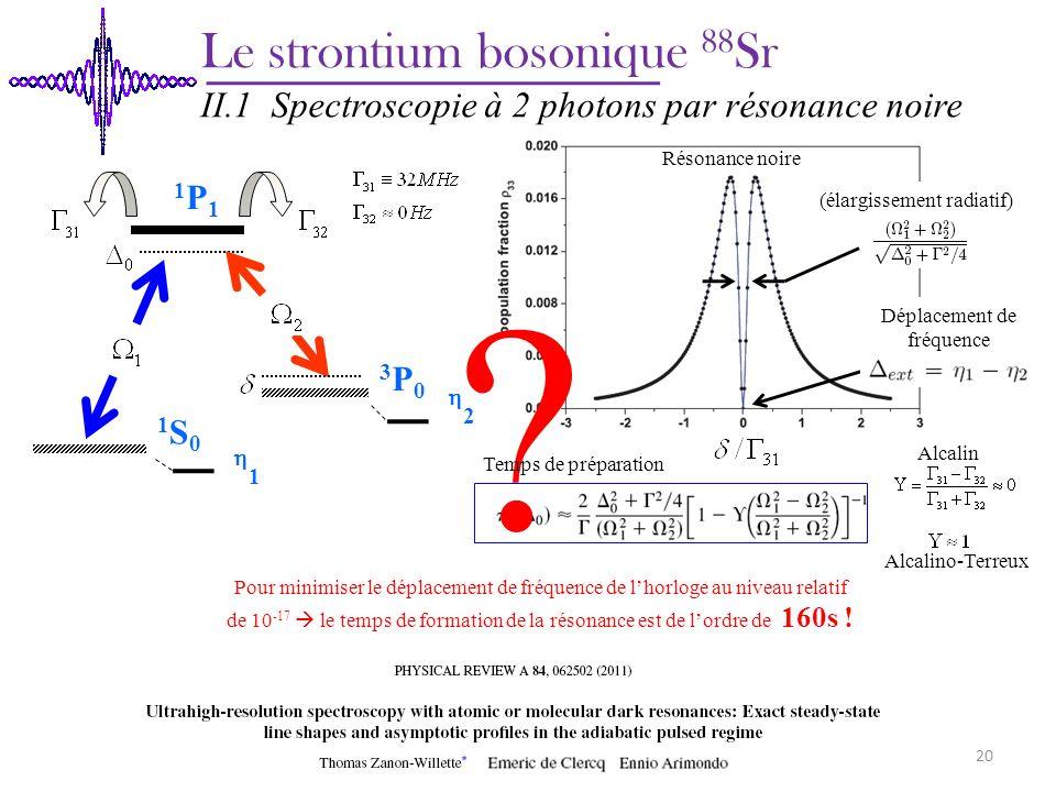 Le strontium bosonique 88 Sr II.1 Spectroscopie à 2 photons par résonance noire Alcalin Alcalino-Terreux 1 2 Pour minimiser le déplacement de fréquenc
