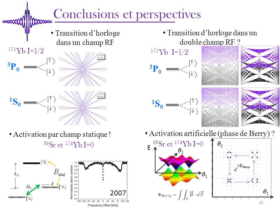 Conclusions et perspectives 171 Yb I=1/2 88 Sr et 174 Yb I=0 Activation par champ statique ! Activation artificielle (phase de Berry) ? 2007 Transitio