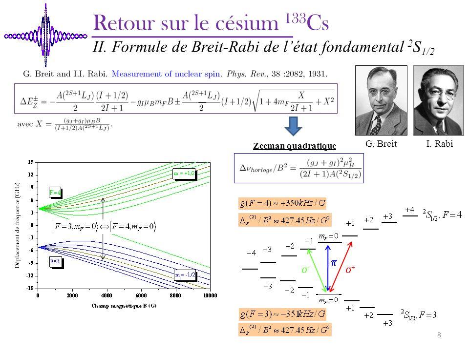 CGPM 1967: « La seconde est la durée de 9 192 631 770 périodes de la radiation correspondant à la transition entre les niveaux hyperfins F=3 et F=4 de létat fondamental de latome de césium 133 ».