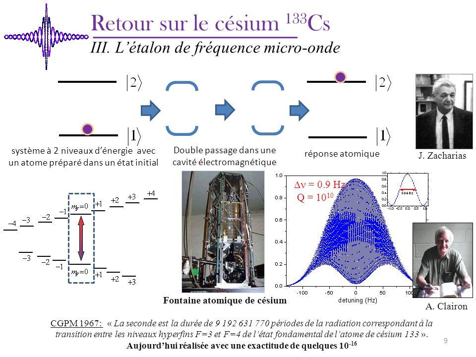 CGPM 1967: « La seconde est la durée de 9 192 631 770 périodes de la radiation correspondant à la transition entre les niveaux hyperfins F=3 et F=4 de