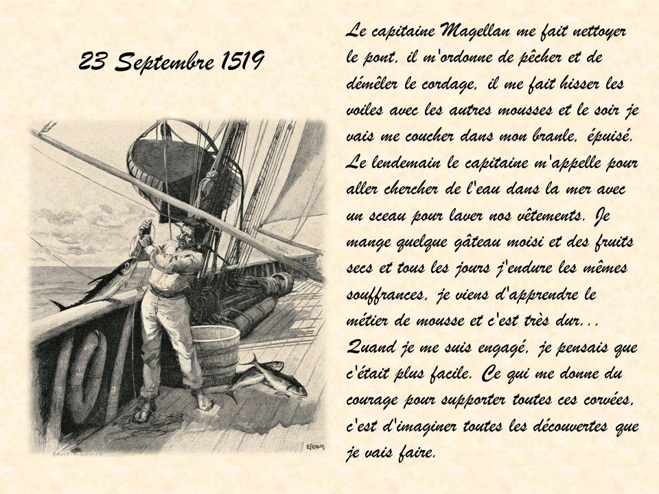 12 Décembre 1519 Je suis sur le bateau est d un coup je vois la terre… Ça y est, nous faisons accoster le bateau .