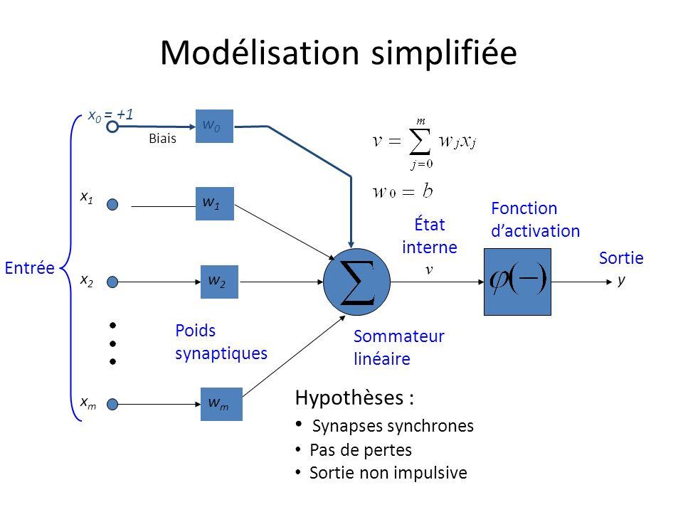 Modélisation simplifiée Entrée Poids synaptiques Sommateur linéaire Fonction dactivation État interne v Sortie y x1x1 x2x2 xmxm w2w2 wmwm w1w1 w0w0 x 0 = +1 Biais Hypothèses : Synapses synchrones Pas de pertes Sortie non impulsive