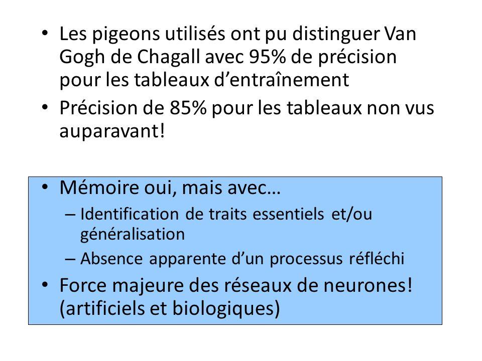 Les pigeons utilisés ont pu distinguer Van Gogh de Chagall avec 95% de précision pour les tableaux dentraînement Précision de 85% pour les tableaux non vus auparavant.