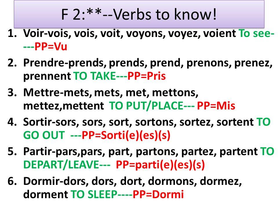 F 2:**--Verbs to know! 1.Voir-vois, vois, voit, voyons, voyez, voient To see- ---PP=Vu 2.Prendre-prends, prends, prend, prenons, prenez, prennent TO T