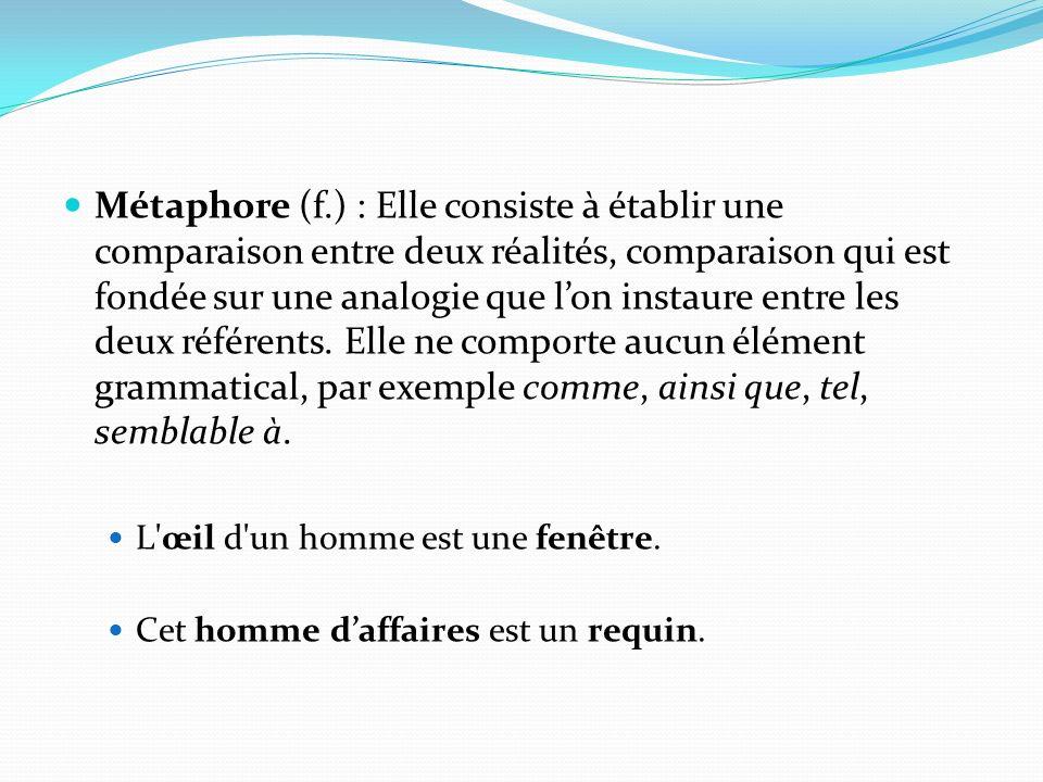 Métaphore (f.) : Elle consiste à établir une comparaison entre deux réalités, comparaison qui est fondée sur une analogie que lon instaure entre les deux référents.