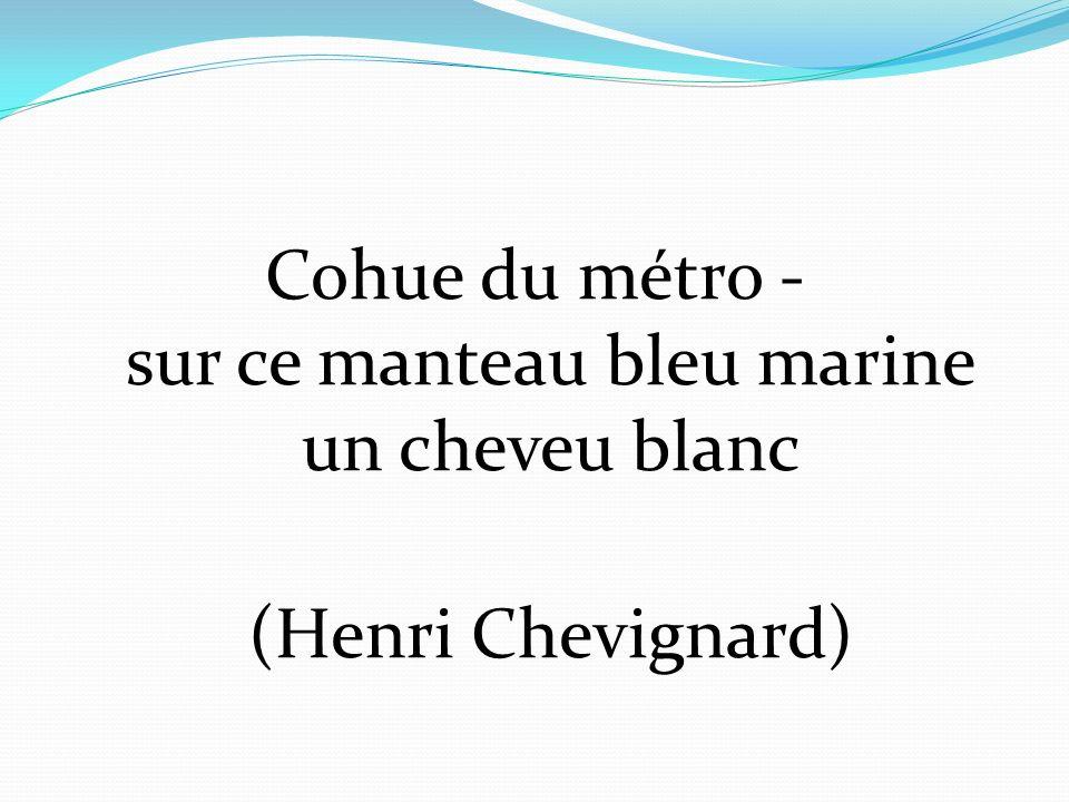 Cohue du métro - sur ce manteau bleu marine un cheveu blanc (Henri Chevignard)