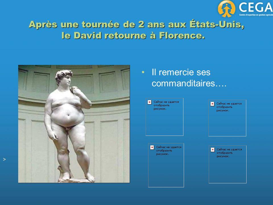 Après une tournée de 2 ans aux États-Unis, le David retourne à Florence. Après une tournée de 2 ans aux États-Unis, le David retourne à Florence. Il r