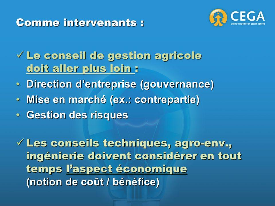 Comme intervenants : Le conseil de gestion agricole doit aller plus loin : Le conseil de gestion agricole doit aller plus loin : Direction dentreprise