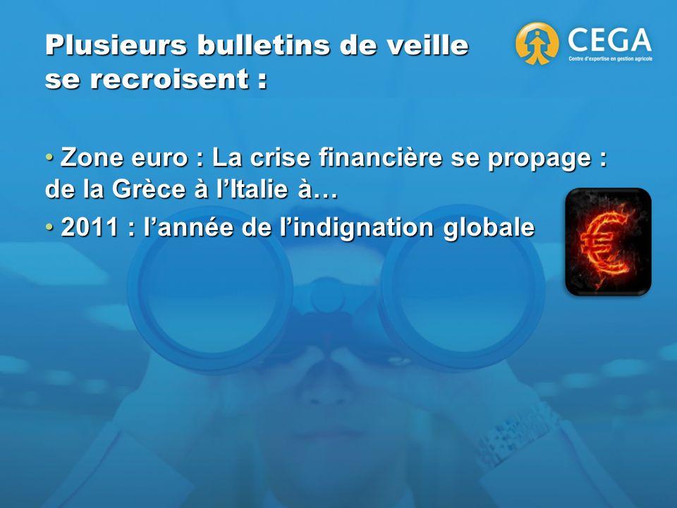 Plusieurs bulletins de veille se recroisent : Zone euro : La crise financière se propage : de la Grèce à lItalie à… Zone euro : La crise financière se propage : de la Grèce à lItalie à… 2011 : lannée de Iindignation globale 2011 : lannée de Iindignation globale
