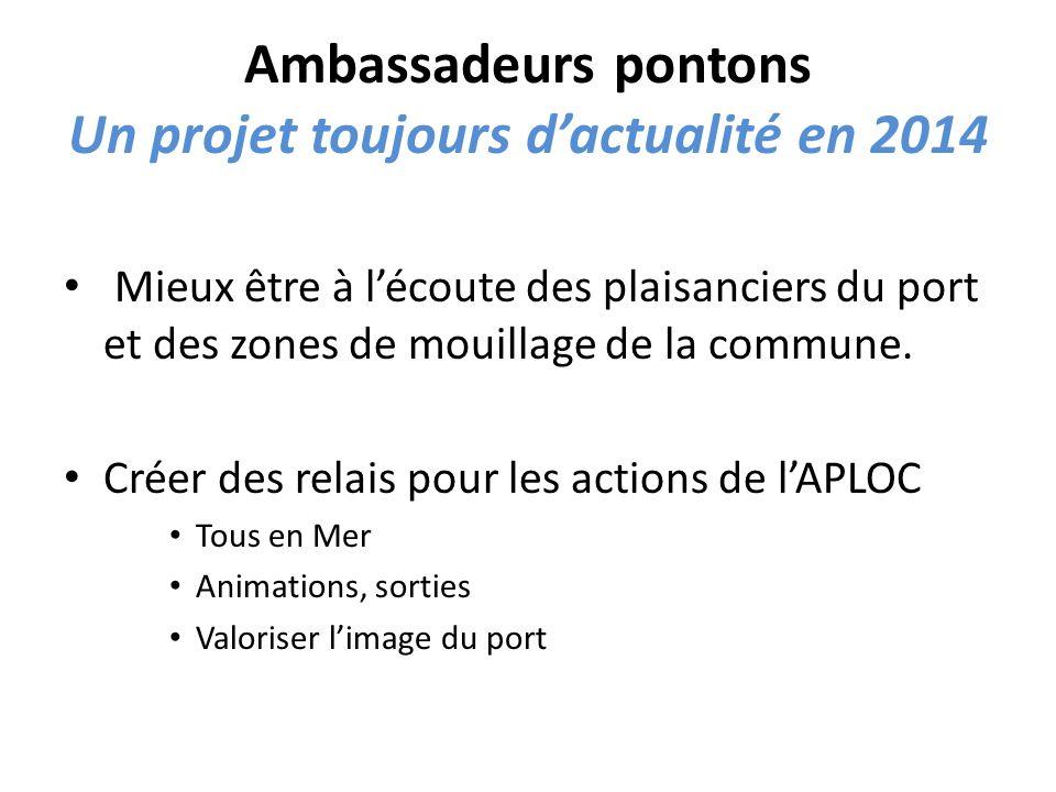 Ambassadeurs pontons Un projet toujours dactualité en 2014 Mieux être à lécoute des plaisanciers du port et des zones de mouillage de la commune.
