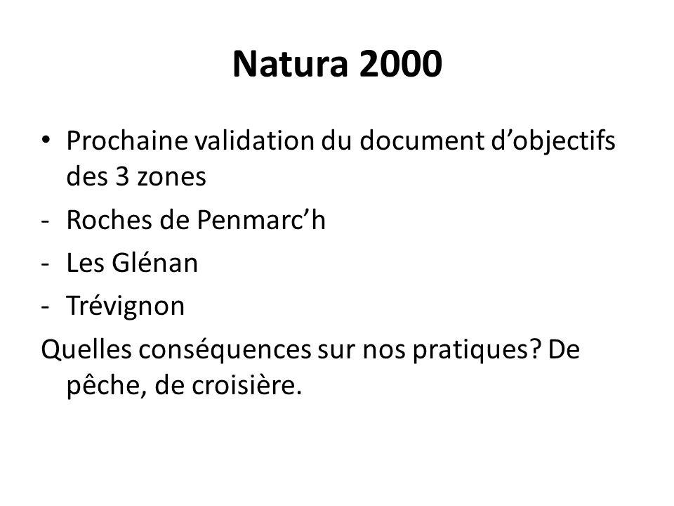 Natura 2000 Prochaine validation du document dobjectifs des 3 zones -Roches de Penmarch -Les Glénan -Trévignon Quelles conséquences sur nos pratiques.