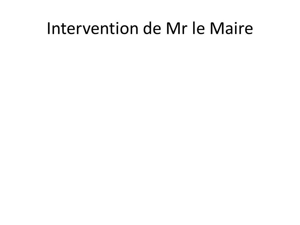 Intervention de Mr le Maire