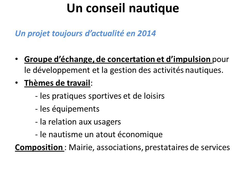Un conseil nautique Un projet toujours dactualité en 2014 Groupe déchange, de concertation et dimpulsion pour le développement et la gestion des activités nautiques.