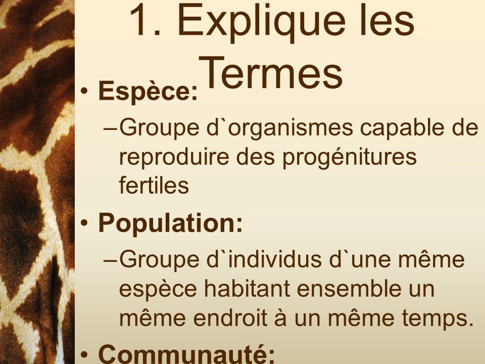 1. Explique les Termes Espèce: –Groupe d`organismes capable de reproduire des progénitures fertiles Population: –Groupe d`individus d`une même espèce
