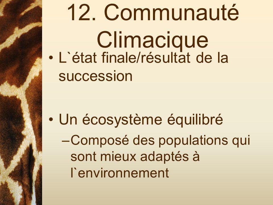 12. Communauté Climacique L`état finale/résultat de la succession Un écosystème équilibré –Composé des populations qui sont mieux adaptés à l`environn