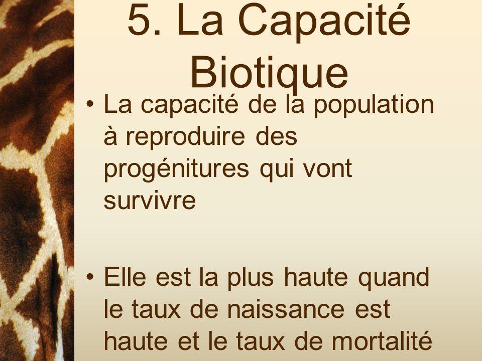 5. La Capacité Biotique La capacité de la population à reproduire des progénitures qui vont survivre Elle est la plus haute quand le taux de naissance