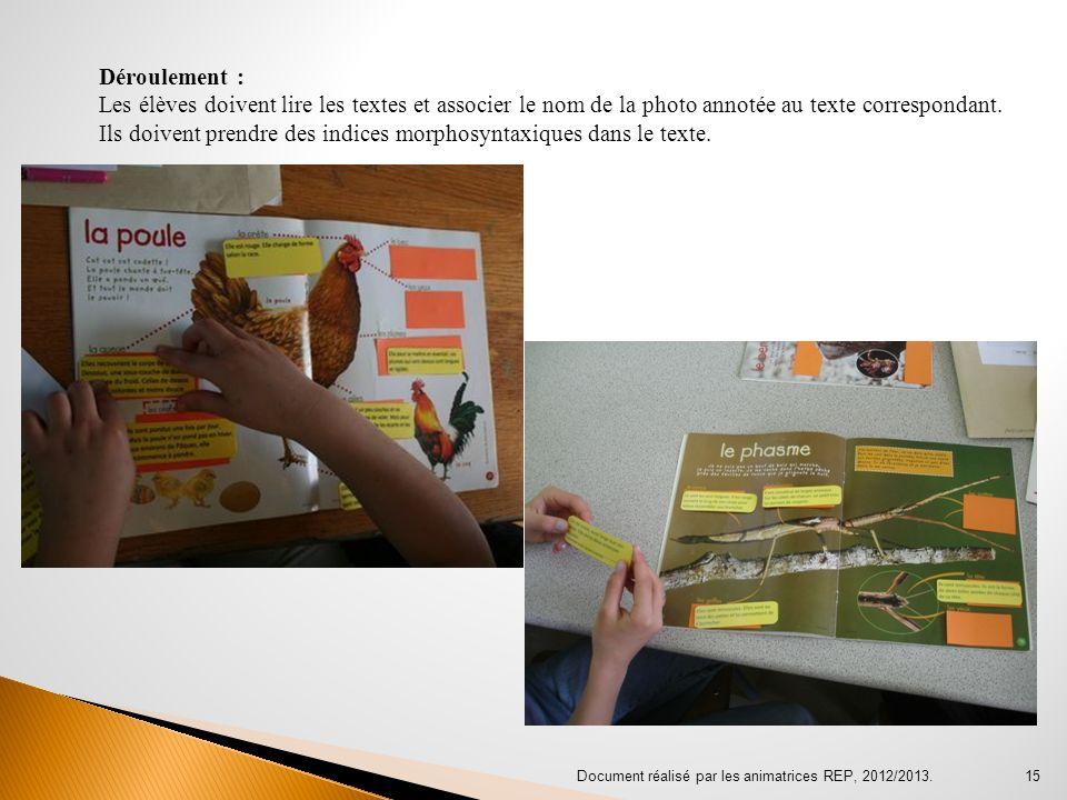 Document réalisé par les animatrices REP, 2012/2013. 15 Déroulement : Les élèves doivent lire les textes et associer le nom de la photo annotée au tex