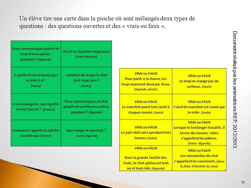 Document réalisé par les animatrices REP, 2012/2013. 19 Un élève tire une carte dans la pioche où sont mélangés deux types de questions : des question