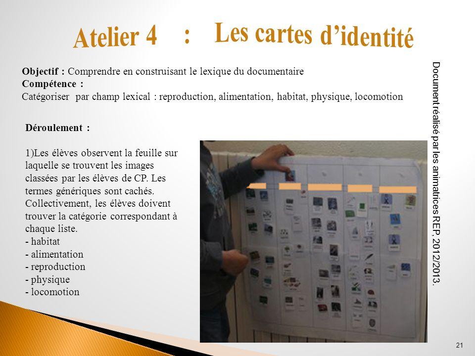 Déroulement : 1)Les élèves observent la feuille sur laquelle se trouvent les images classées par les élèves de CP. Les termes génériques sont cachés.