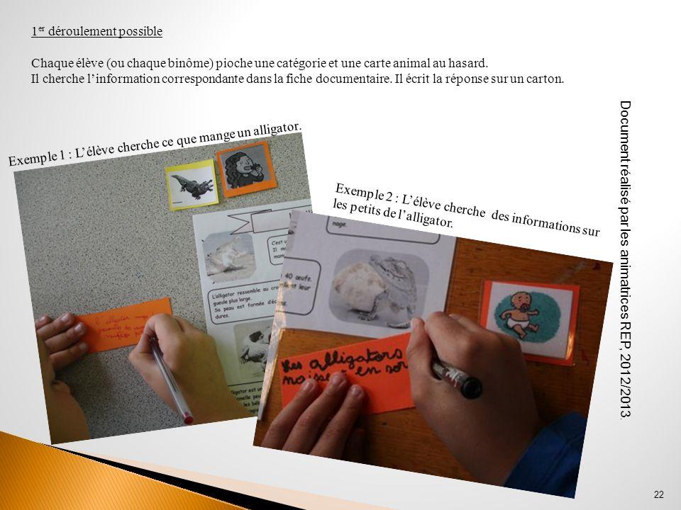 Document réalisé par les animatrices REP, 2012/2013. 22 1 er déroulement possible Chaque élève (ou chaque binôme) pioche une catégorie et une carte an