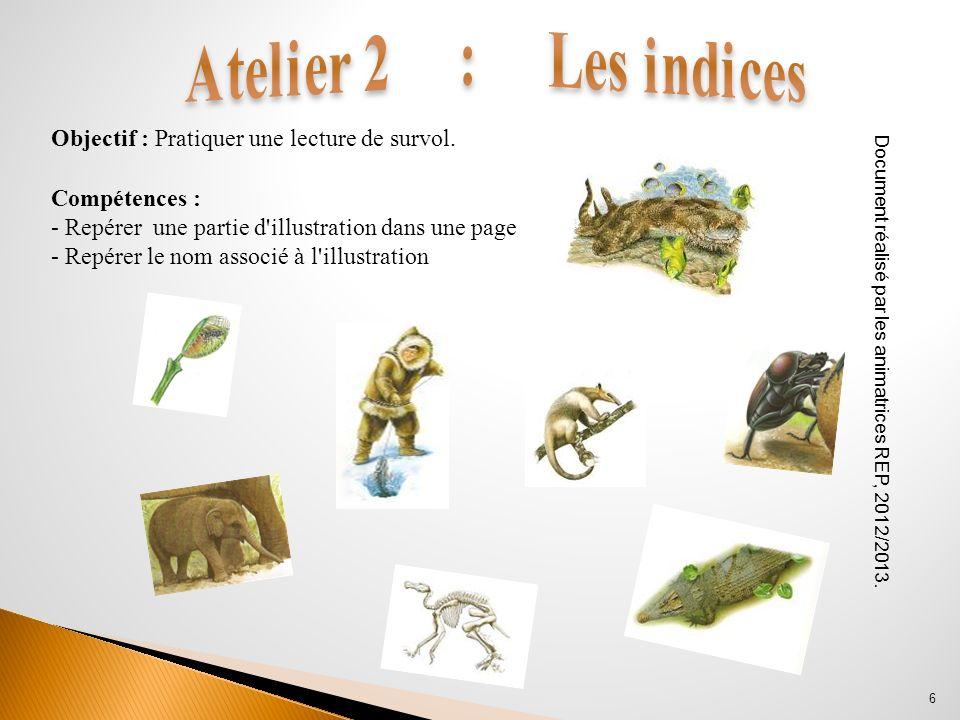 Compétences : - Repérer une partie d'illustration dans une page - Repérer le nom associé à l'illustration Document réalisé par les animatrices REP, 20
