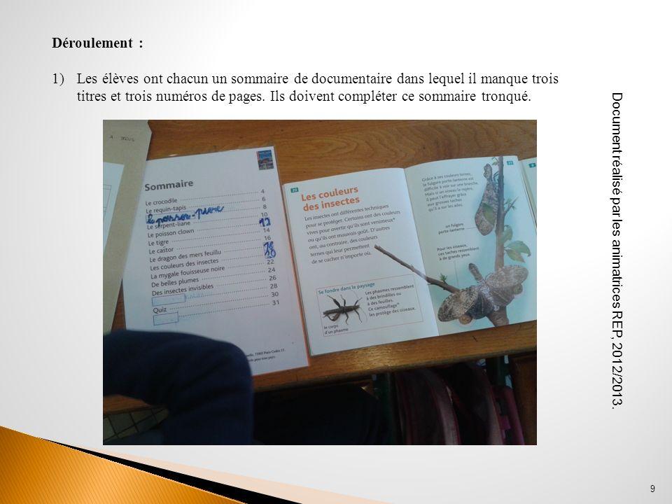 9 Déroulement : 1)Les élèves ont chacun un sommaire de documentaire dans lequel il manque trois titres et trois numéros de pages. Ils doivent compléte