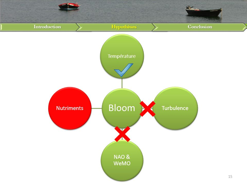 IntroductionHypothèsesConclusion 15 Bloom Température Turbulence NAO & WeMO Nutriments